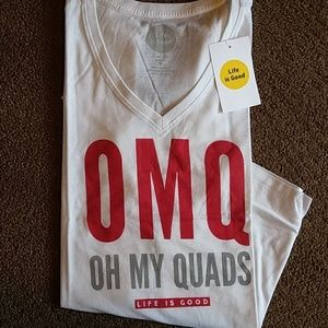 Women's White T-shirt-OMQ Oh My Quads Life is Good